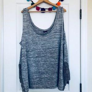 Torrid Heather Hacci Gray Crochet Tank Size 5